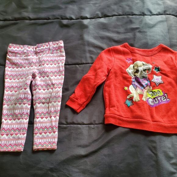 282afb1c31950 Wonderkids Bottoms | Girl 24 Months Red Sweatshirt Jeggings | Poshmark